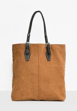Tan Western Buckle Tote Bag