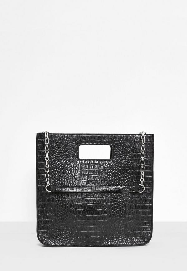 Black Croc Embossed Structured Tote Bag