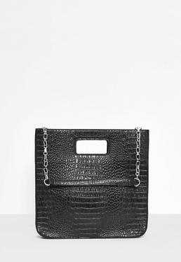 Cabas noir structuré texture faux croco