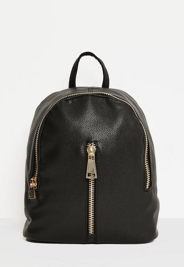 Black Oversized Zip Detail Backpack