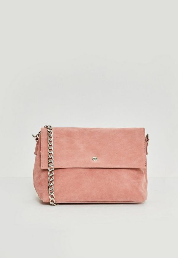 Pink Faux Suede Chain Strap Cross Body Bag