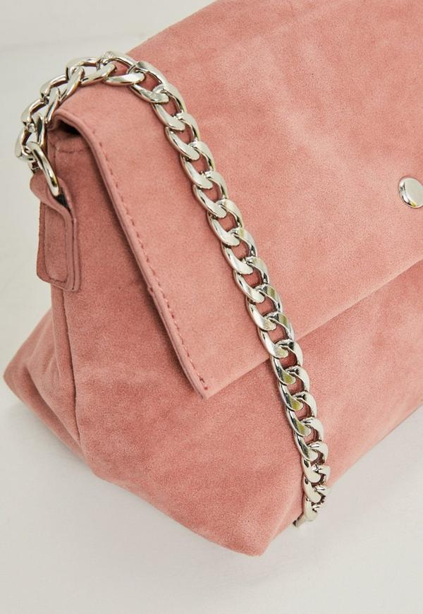 Famous Pink Faux Suede Chain Strap Cross Body Bag | Missguided ZD88
