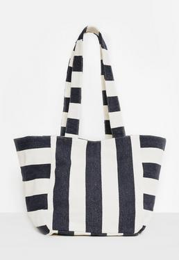 Blue Oversized Striped Beach Bag