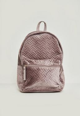 Pink Stitch Detail Velvet Backpack