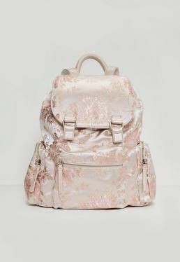 Silver Three Pocket Floral Pattern Backpack