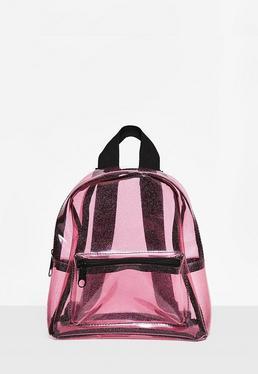 Transparenter Glitter Rucksack in Pink