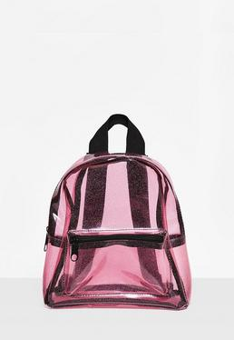 Transparenter Glitter Rucksack in Pink