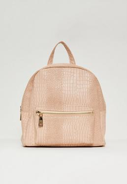 Nude Mini Croc Backpack