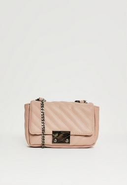 Nude Faux Leather Quilted Cross Body Bag