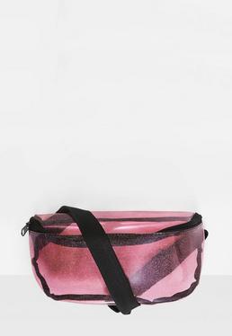Pink Transparent Glittery Bum Bag