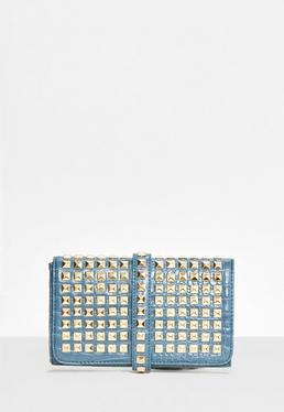 Blue Studded Clutch Bag