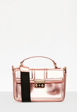 Rose Gold Metallic Guitar Strap Cross Body Bag
