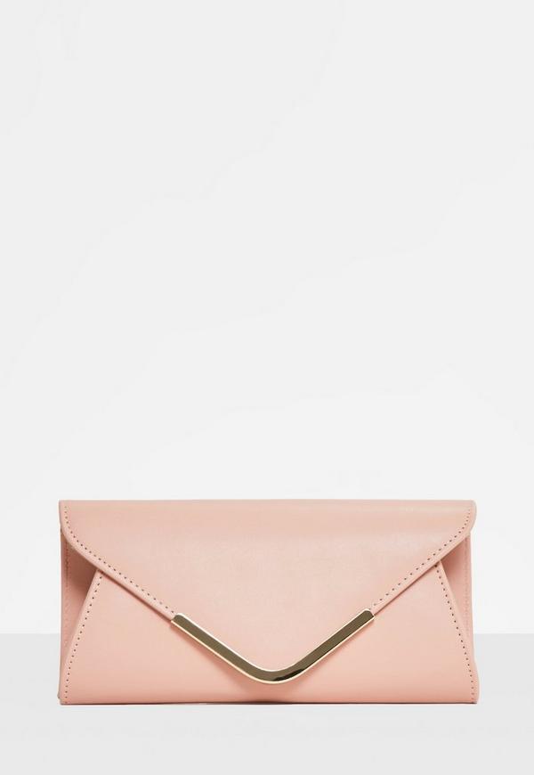 Pink Metal Trim Envelope Clutch Bag