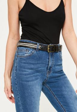 Black Embroidered Trim Belt