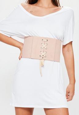 Ceinture corset oversize rose en suédine à lacets