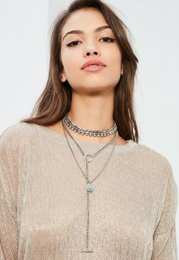 Collier argenté multi-rangs