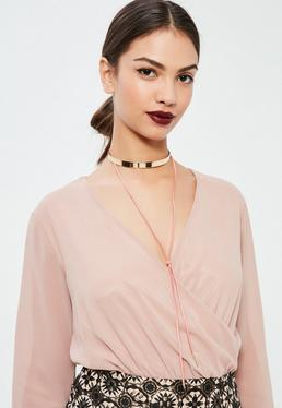 Gold & Pink Metal Plate Choker Necklace