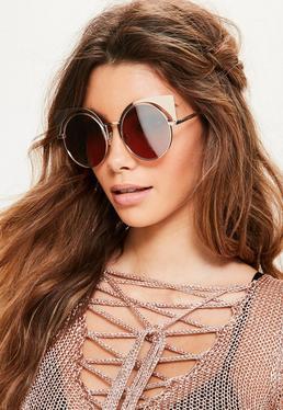 Gold Mirror Metal Cat Eye Sunglasses
