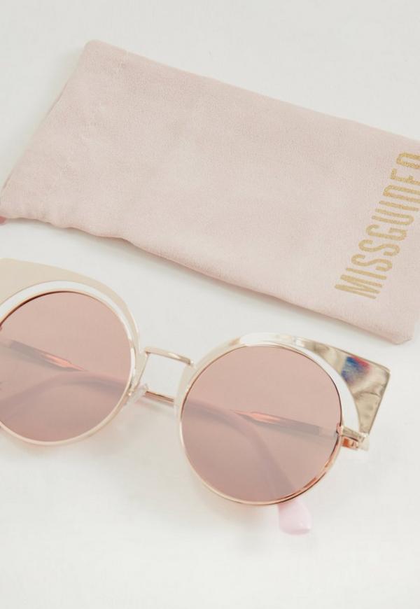 acbdf52a984 Gold Cross Bar Cat Eye Mirrored Sunglasses - Pink - Bitterroot ...
