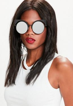 Black Mirrored Metal Frame Cat Eye Sunglasses