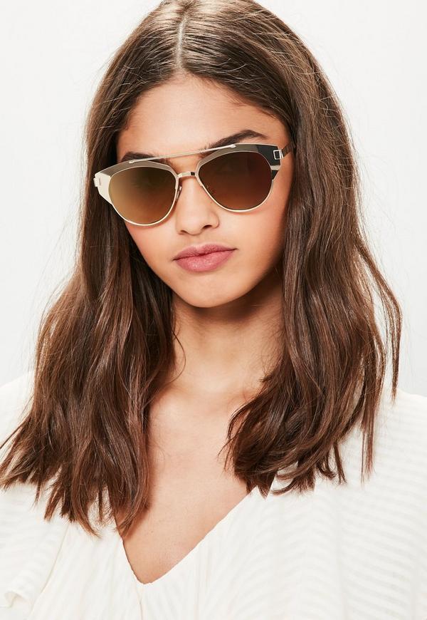 Gold T-Bar Metal Frame Sunglasses
