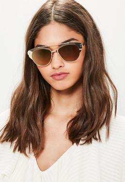 Złote okulary przeciwsłoneczne T-Bar w metalowych oprawkach