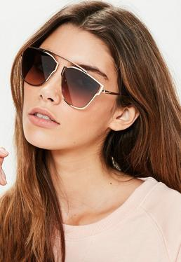 Gold Geometric Frame Sunglasses