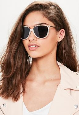 White Metal Flat Bar Contrast Sunglasses