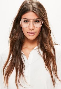 Gold Clear Lens Aviator Glasses