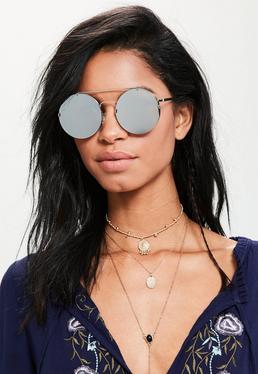 Silver Round Flat Lens Top Bar Sunglasses