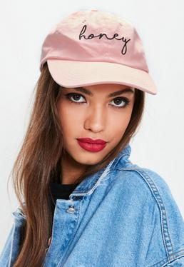 Różowa czapka z daszkiem z nadrukiem Honey