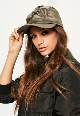 Khaki Lace Up Cap