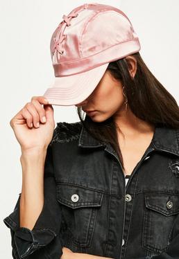 Różowa czapka z daszkiem z wiązaniem