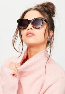 Brązowe klasyczne okulary przeciwsłoneczne w panterkę