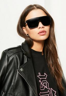 Black Flat Bar Sunglasses