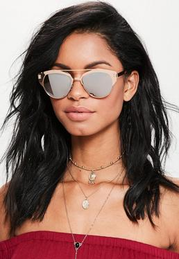 Rose Gold Metal Frame T-Bar Sunglasses