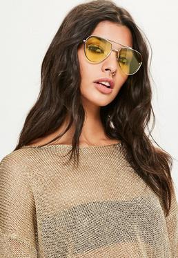 Gafas de Sol de Aviador con Lentes Amarillas