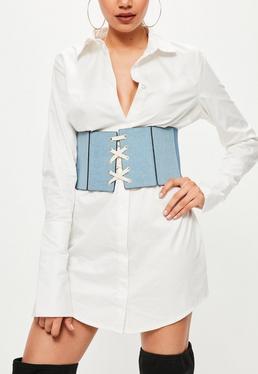 Ceinture corset bleue en jean