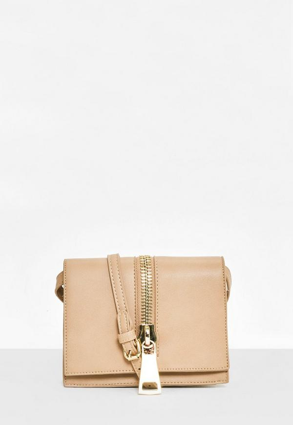 Nude Oversized Zip Detail Cross Body Bag