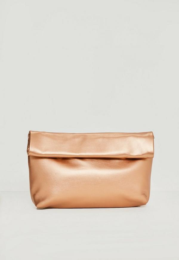 rose gold roll top clutch bag missguided. Black Bedroom Furniture Sets. Home Design Ideas
