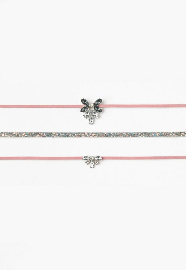 Pink 3 Pack Choker Necklace Set