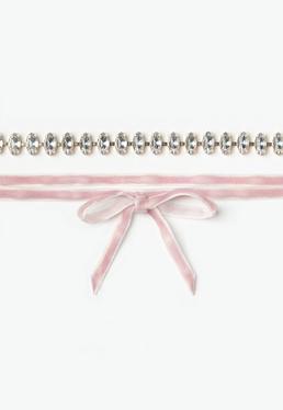 Różowy welurowy naszyjnik choker 2 sztuki