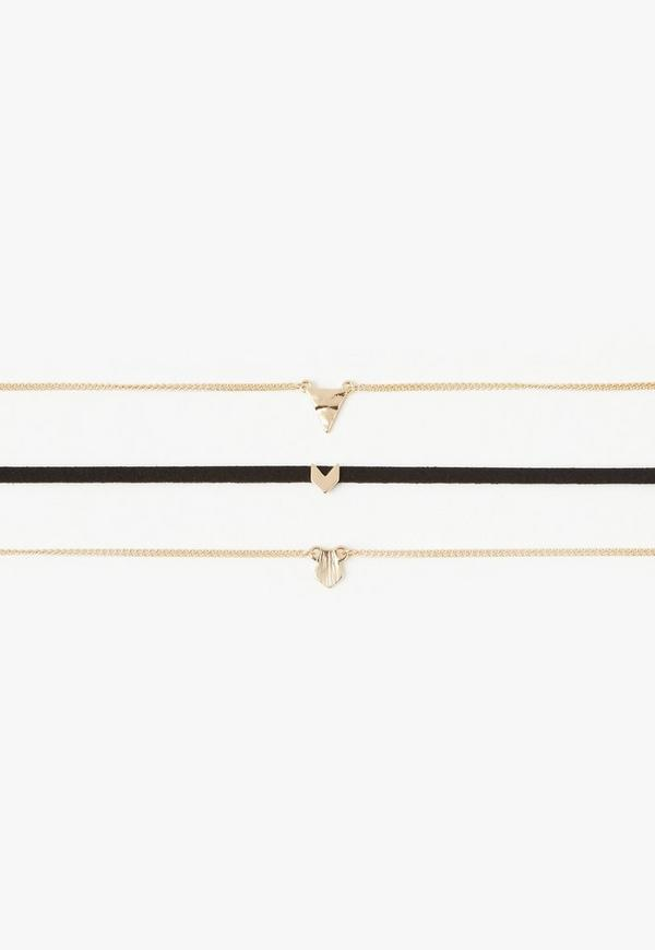 Gold Arrow Detail Three Pack Choker Set