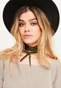 Khaki Velvet Wrap Around Choker Necklace