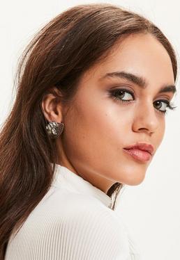 Boucles d'oreilles argentées et diamantées en forme d'éventail