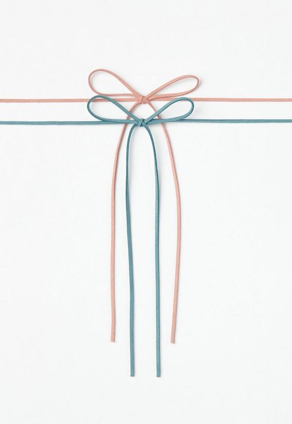 Pink & Blue 2 Pack Faux Suede Choker Necklace Set