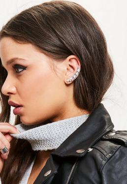 Silver Stud & Cuff Earrings Set