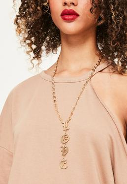 Gold Love Slogan Necklace