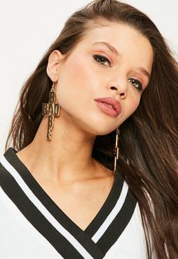 Boucles d'oreilles pendantes dorées Bad Babe
