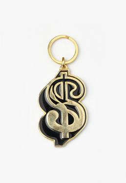Gold Dollar Sign Key Ring